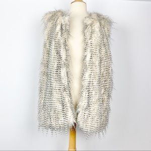White & black faux fur long vest, one size